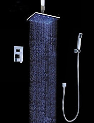 cheap -Contemporary Wall Mounted Rain Shower Handshower Included LED Chrome, Shower Faucet
