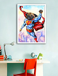 cheap -Animals Cartoon Illustration Wall Art,PVC Material With Frame For Home Decoration Frame Art Living Room Bedroom Kitchen Dining Room Kids