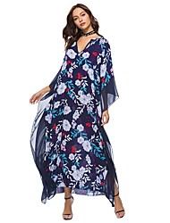 cheap -Women's Boho Batwing Sleeve Loose Tunic Dress - Floral Patchwork, Print Maxi V Neck