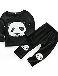 cheap -Baby Boys' Daily Print Clothing Set, Cotton Spring Active Long Sleeves Black