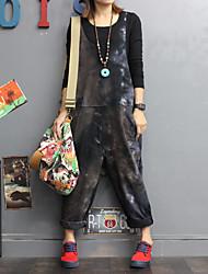 economico -Da donna Quotidiano Tinta unita Vintage Tuta,Flare Rotonda Manica lunga Inverno Cotone Fibra di bamboo