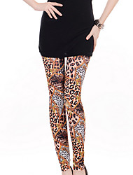 cheap -Women's Leopard Print Polyester Opaque Print Legging,Print Brown