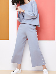cheap -Women's Casual/Daily Simple Winter Fall T-Shirt Pant Suits,Solid Round Neck Long Sleeve Beaded Polyester Micro-elastic