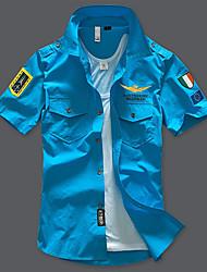 Недорогие -Муж. Рубашка Армия Геометрический принт С принтом