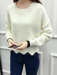 cheap -Women's Sports & Outdoor Casual/Daily Regular Pullover,Solid Round Neck Long Sleeves Cotton Cotton/nylon with a hint of stretch Winter