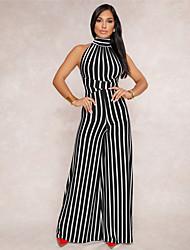 cheap -Women's Vintage Boho Jumpsuit - Striped, Backless Embroidered High Waist Wide Leg Halter
