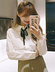 cheap -Women's Daily Vintage Winter Blouse,Solid Shirt Collar Short Sleeve Acrylic Opaque