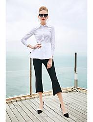 baratos -Mulheres Camisa Social Bordado, Sólido Colarinho de Camisa Manga Borboleta