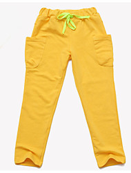 abordables -Pantalones Chico Un Color Algodón Primavera Activo Marrón Verde Trébol Naranja Rosa Amarillo