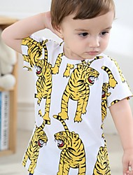 economico -T-shirt Da ragazzo Cotone Con stampe Estate Mezza manica Semplici Giallo