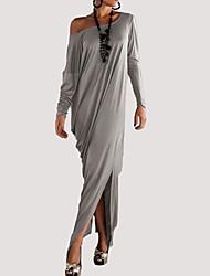 cheap -Women's Beach Tunic Dress - Solid, Split Maxi Off Shoulder