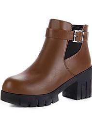 baratos -Mulheres Sapatos Courino Primavera Outono Conforto Botas Salto Robusto Peep Toe Presilha para Preto Marron