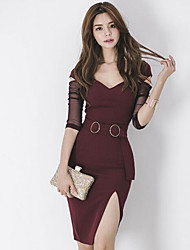 cheap -Women's Simple Cotton Bodycon Dress - Color Block V Neck / Spring / Fall / Split / Skinny