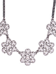 cheap -Women's Flower Shape Floral Vintage European Statement Necklace Rhinestone Imitation Pearl Alloy Statement Necklace Party