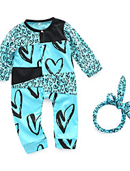 cheap -Baby Girls' Daily Print One-Pieces, Cotton Spring Cute Long Sleeves Light Blue