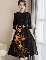 abordables -Mujer Vaina Vestido - Separado Estampado, Floral Escote Chino
