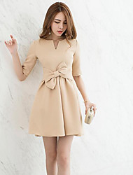 cheap -Women's Party Simple Sheath Dress,Solid Round Neck Above Knee Short Sleeve Cotton Spring Fall Mid Rise Micro-elastic Opaque