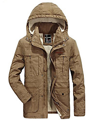 cheap -Men's Going out Casual/Daily Street chic Winter Fall Trench coat,Solid Hooded Long Sleeves Regular Lamb Fur