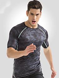 cheap -Men's Running T-Shirt Short Sleeves Fast Dry Breathability Top for Exercise & Fitness Leisure Sports Outdoor Exercise Running Nylon Dark