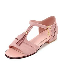 cheap -Women's Shoes Nubuck leather Summer Ankle Strap Sandals Chunky Heel Peep Toe Buckle Tassel for Casual Black Beige Red Green Pink