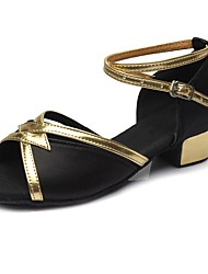 cheap -Latin Shoes Sparkling Glitter / Leatherette Sandal / Heel Training Buckle Chunky Heel Customizable Dance Shoes Black / Gold