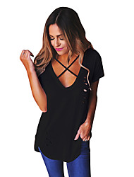 economico -T-shirt Per donna Tinta unita A V