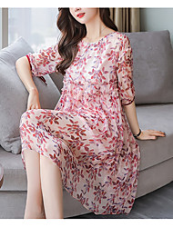 cheap -Women's Cute Active Loose Dress - Floral, Print