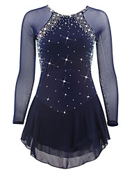 cheap -Figure Skating Dress Women's Girls' Ice Skating Dress Dark Blue Rhinestone Sequin High Elasticity Performance Practise Leisure Sports
