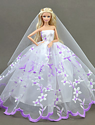 cheap -Dresses Dress For Barbie Doll Purple-White Tulle Lace Silk/Cotton Blend Dress For Girl's Doll Toy