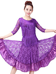 cheap -Latin Dance Outfits Women's Training Polyester Lace Pattern / Print Split Joint Half Sleeves High Skirts Top