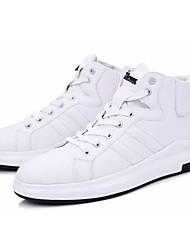 Herre Sko PU Forår Efterår Komfort Sneakers for Afslappet Hvid Sort Rød