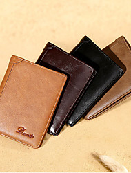 cheap -Credit Card Holders / Leather Loop / Wallet - Folding Casual Genuine Leather Coffee, Brown, Khaki