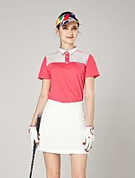 baratos -Mulheres Golfe Camiseta Secagem Rápida A Prova de Vento Vestível Respirabilidade Golfe Exercicio Exterior