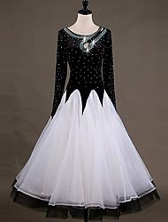 cheap -Ballroom Dance Dresses Women's Performance Chinlon Organza Appliques Crystals / Rhinestones Long Sleeves High Dress