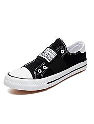 Herre Sko Kanvas Forår Sommer Komfort Dykesko Sneakers Sidedrapering for Afslappet udendørs Hvid Sort Grøn