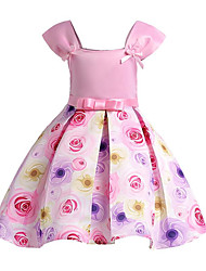 cheap -Girl's Daily Going out Solid Floral Dress, Cotton Polyester Spring Summer Short Sleeves Cute Active Blushing Pink