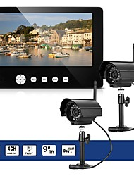 baratos -2 x câmera digital com 9 lcd monitor dvr wireless kit home cctv security system