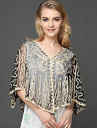 cheap -Women's Work Batwing Sleeve Polyester Wrap - Solid, Lace Embroidered Jacquard V Neck