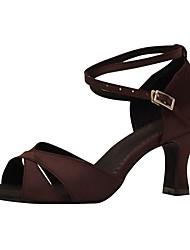 abordables -Femme Chaussures Latines Satin Sandale / Talon Professionnel Talon Personnalisé Personnalisables Chaussures de danse Brun Foncé