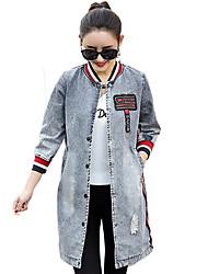 cheap -Women's Denim Jacket - Color Block, Print