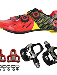cheap -SIDEBIKE Cycling Shoes With Pedals & Cleats / Road Bike Shoes Carbon Fiber Anti-Slip, Wearable Cycling Black / Red / Green / Black Men's / Women's