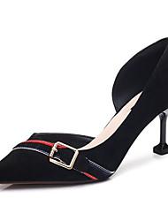preiswerte -Damen Schuhe Nubukleder Frühling Herbst Komfort Pumps High Heels Stöckelabsatz für Normal Schwarz Grau Rosa