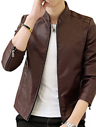 cheap -Men's Work Punk & Gothic Street chic Plus Size Leather Jacket-Solid Colored