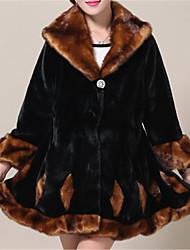 Недорогие -Жен. На каждый день Зима Осень Пальто с мехом V-образный вырез,Простой Однотонный Обычная Длинные рукава,Искусственный мех,Меховая