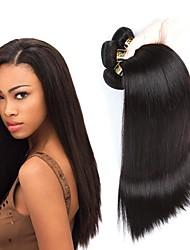 cheap -Brazilian Hair Straight Human Hair Weaves 4-Pack Natural Color Hair Weaves