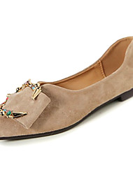 cheap -Women's Shoes Suede PU Spring Fall Comfort Loafers & Slip-Ons Flat Heel Pointed Toe for Casual Black Beige