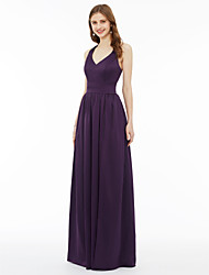 cheap -A-Line Princess V Neck Floor Length Chiffon Bridesmaid Dress with Sash / Ribbon Pocket Pleats Split Front by LAN TING BRIDE®