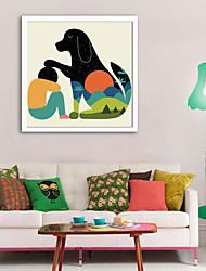 Недорогие -Животные Мультипликация Иллюстрации Предметы искусства,Пластик материал с рамкой For Украшение дома Предметы искусства в рамках Гостиная