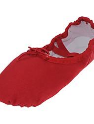 baratos -Sapatilhas de Balé Lona Sapatilha Sem Salto Personalizável Sapatos de Dança Vermelho / Interior