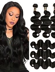 cheap -Brazilian Hair Body Wave Virgin Human Hair Natural Color Hair Weaves Human Hair Weaves Natural Black